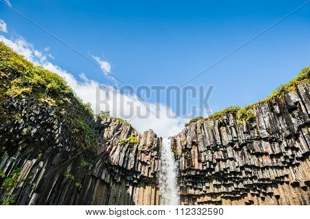 Beautiful Svartifoss Waterfall With Basalt Columns