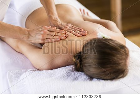 Woman enjoying massage.