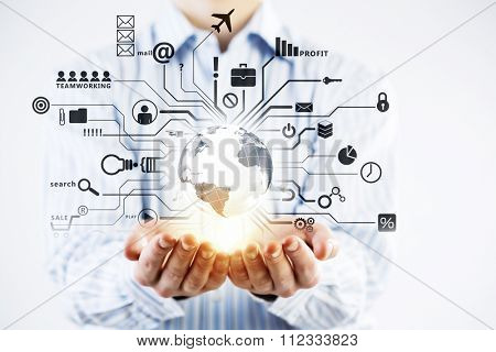 Businessman hands demostrating business strategy sketch in palms