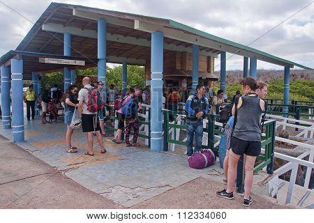 Galapagos, Baltra, Ecuador - November 17, 2015: Crossing Between