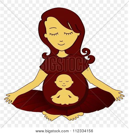 Meditating Mother - Vector Illustration