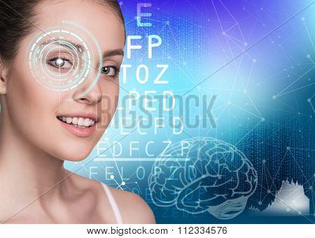 Woman on eyesight exam