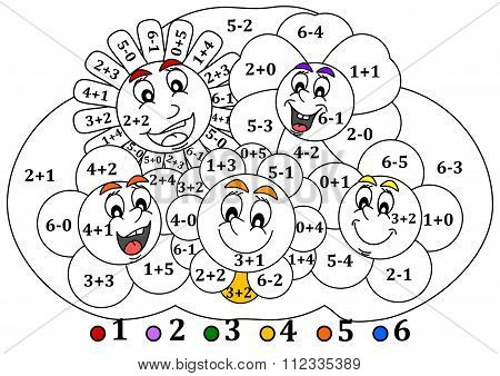 Calculate The Examples And Fill Colors Depending On The Result - Smiling Colorful Flowers