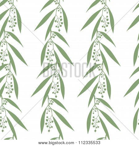 Seamless pattern branches of eucalyptus