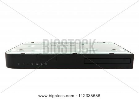 Black CD, DVD player upside down and close-up isolated on white background