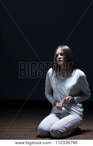 Sick Woman Feeling Hunger