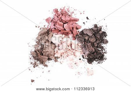 Multi Colored Crushed Eyeshadows Isolated On White Background