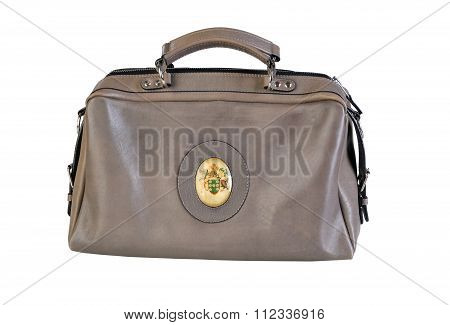 Brown Vintage Valise Isolated On A White Background.