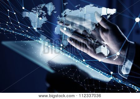 Businessman hand holding virtual panel representing net connection