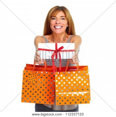 Shopping woman with envelope and gifts isolated white background.