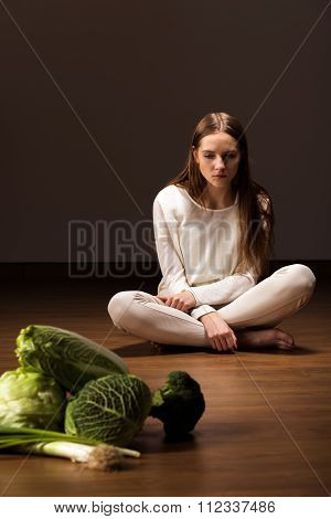 Starving Female With Mental Problem