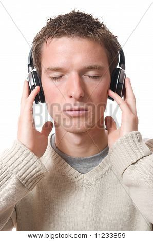 man with headphones