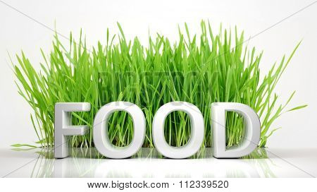Green grass with Food 3D text, isolated on white background.