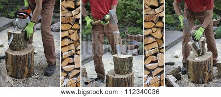 Woodworking Man With A Splitting Wedge And A Chainsaw, Preparing Firewood