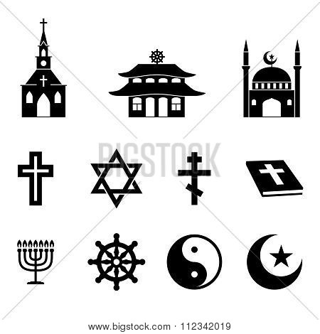 Religion icons vector set
