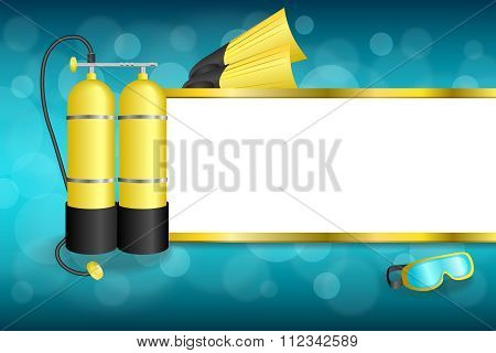 Background abstract blue diving sport yellow aqualung flippers mask stripes gold frame illustration