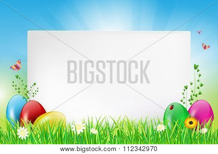 Happy Easter Card With Copy Space And Eggs In Grass