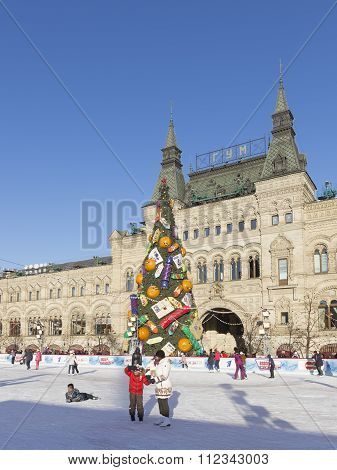 Beautiful Christmas Ice Rink On Red Square