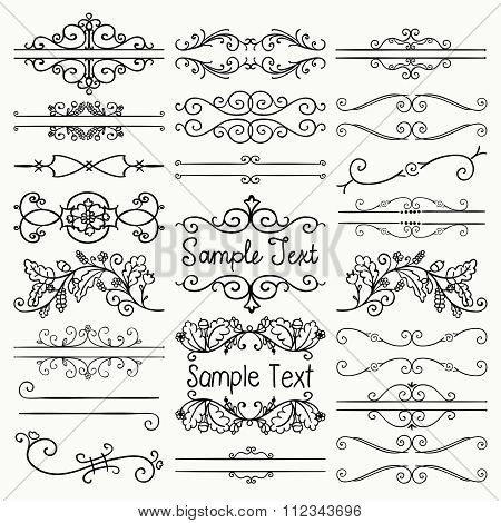 Vector Black Hand Drawn Dividers, Text Frames, Swirls
