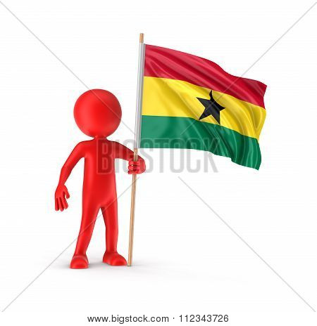 Man and Ghana flag. Image with clipping path
