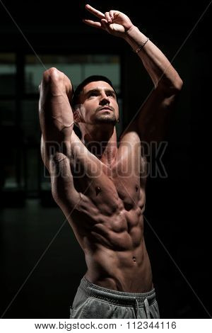 Strong Bodybuilding Man Looking Up