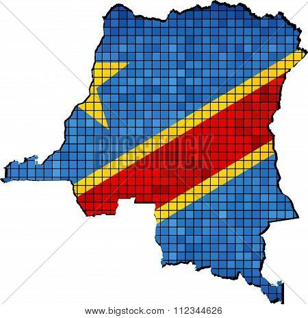 Democratic Republic Of The Congo Map With Flag Inside.eps