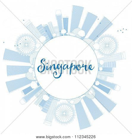 Outline Singapore skyline with blue landmarks and copy space. Vector illustration. Business travel and tourism concept with place for text. Image for presentation, banner, placard and web site.