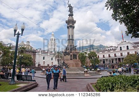 Quito, Ecuador - November 25, 2015: Independence Square In Quito