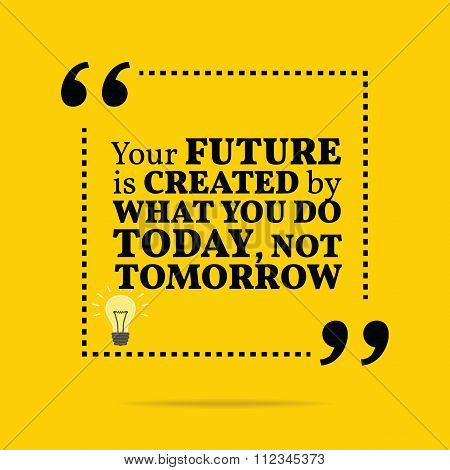 Inspirational Motivational Quote. The Future Is Created By What You Do Today, Not Tomorrow.
