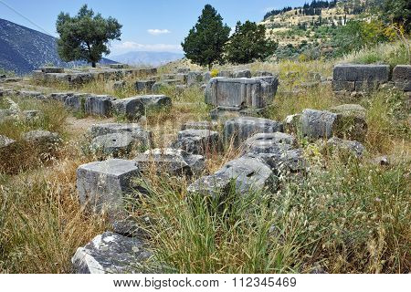 Ruins in Ancient Greek archaeological site of Delphi