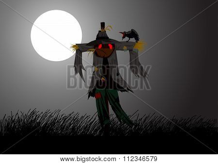 Cartoon illustration of a scarecrow on field during full moon