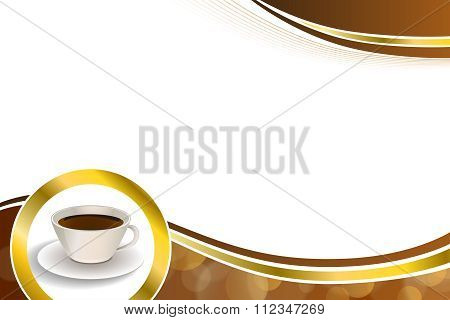 Abstract background coffee cup brown gold circle ribbon frame illustration vector