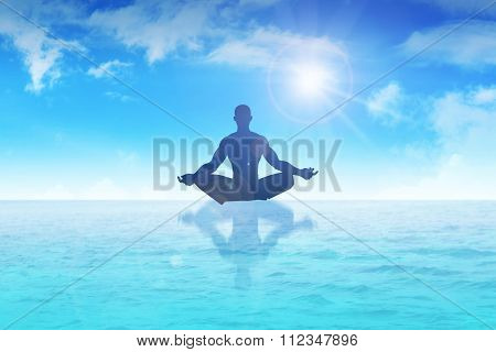 Silhouette of a man figure meditating on water