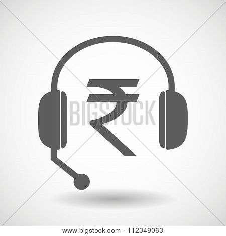Remote Assistance Headset Icon With  A Rupee Sign