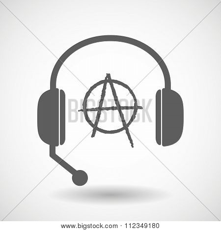 Remote Assistance Headset Icon With  An Anarchy Sign