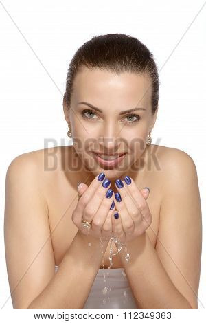 Smiling Girl Is Washes Her Face