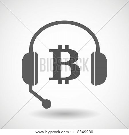 Remote Assistance Headset Icon With  A Bit Coin Sign