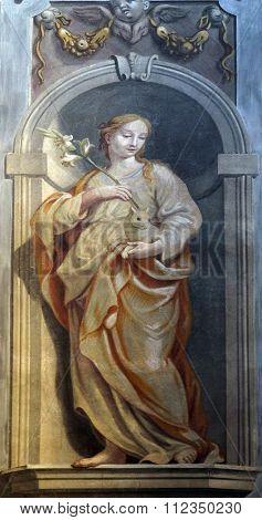 LJUBLJANA, SLOVENIA - JUNE 30: Saint Agnes of Rome, fresco in the St Nicholas Cathedral in Ljubljana, Slovenia on June 30, 2015