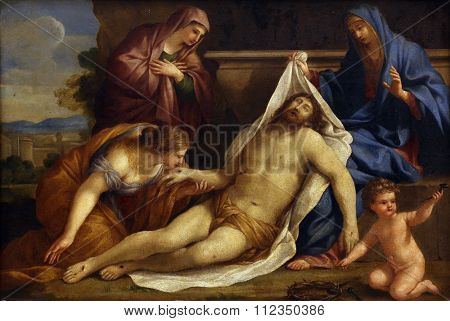 ZAGREB, CROATIA - DECEMBER 08: Giovanni Francesco Romanelli: Lamentation of Christ, Old Masters Collection, Croatian Academy of Sciences, December 08, 2014 in Zagreb, Croatia