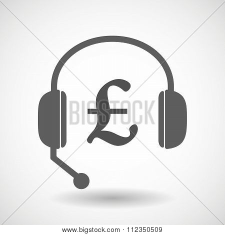 Remote Assistance Headset Icon With  A Pound Sign