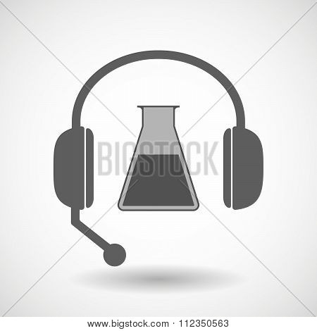 Remote Assistance Headset Icon With  A Flask