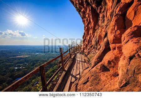 Cliff Side Wooden Bridge At Wat Phu Tok, Bueng Kan, Thailand