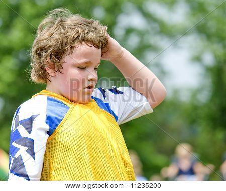 Verschwitzt Fußballspieler