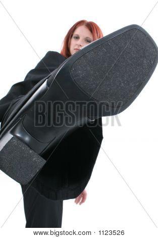 Business Woman Kicking