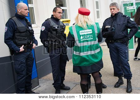 Police at UN climate conference