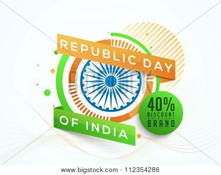 Creative Sale sticker, tag or label with 40% discount offer on every brands for Happy Indian Republic Day celebration.