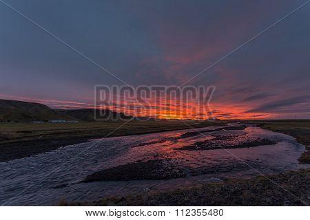 Sunrise In Skogar, Iceland