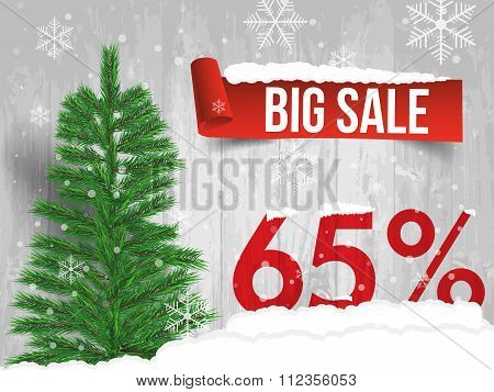 Winter Sale 65 Percent. Winter Sale Background With Red Ribbon Banner And Snow. Sale. Winter Sale. C