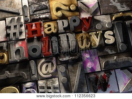 Happy Holidays! On Retro Wooden Print Blocks Celebrate The Festive Season.