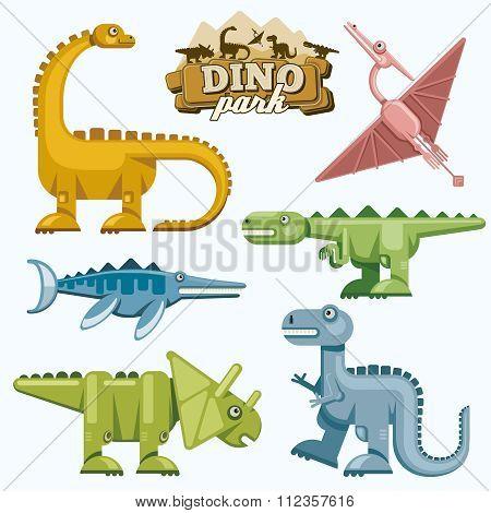 Dinosaur and prehistoric animals flat icons set